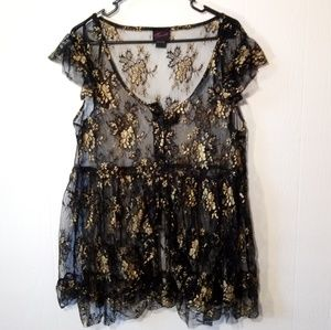 Sheer Lace Gold Accent Open Front Peplum Top